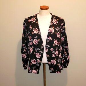 Caren Sport Floral Long Sleeve Open Blazer 2XL
